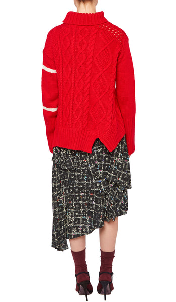 PREEN LINE LUXURY DESIGNER RED OVERSIZED ROLL NECK SERENITY JUMPER WITH CONTRAST IVORY STRIPES AND CABLE KNIT DETAILING