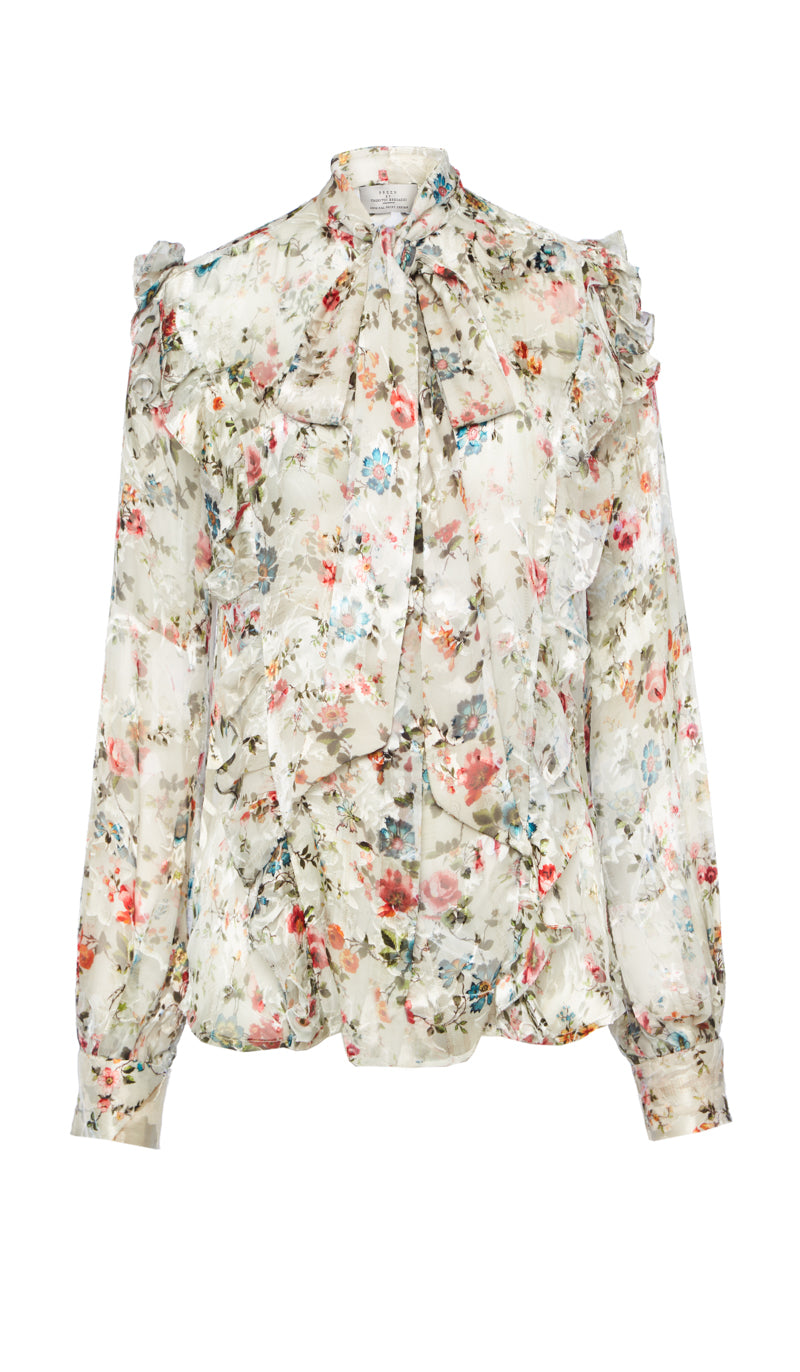 PREEN BY THORNTON BREGAZZI LUXURY DESIGNER NUDE ETCHED FLORAL ZINNA BLOUSE WITH HIGH NECK, PUSSY BOW TIE AND BILLOWING SLEEVES