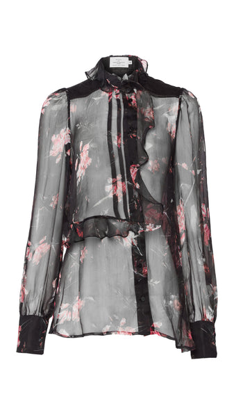 PREEN BY THORNTON BREGAZZI LUXURY DESIGNER SHEER BLACK PLASTIC FLORAL CHIFFON SHIRT WITH PIE CRUST COLLAR AND FITTED CUFFS