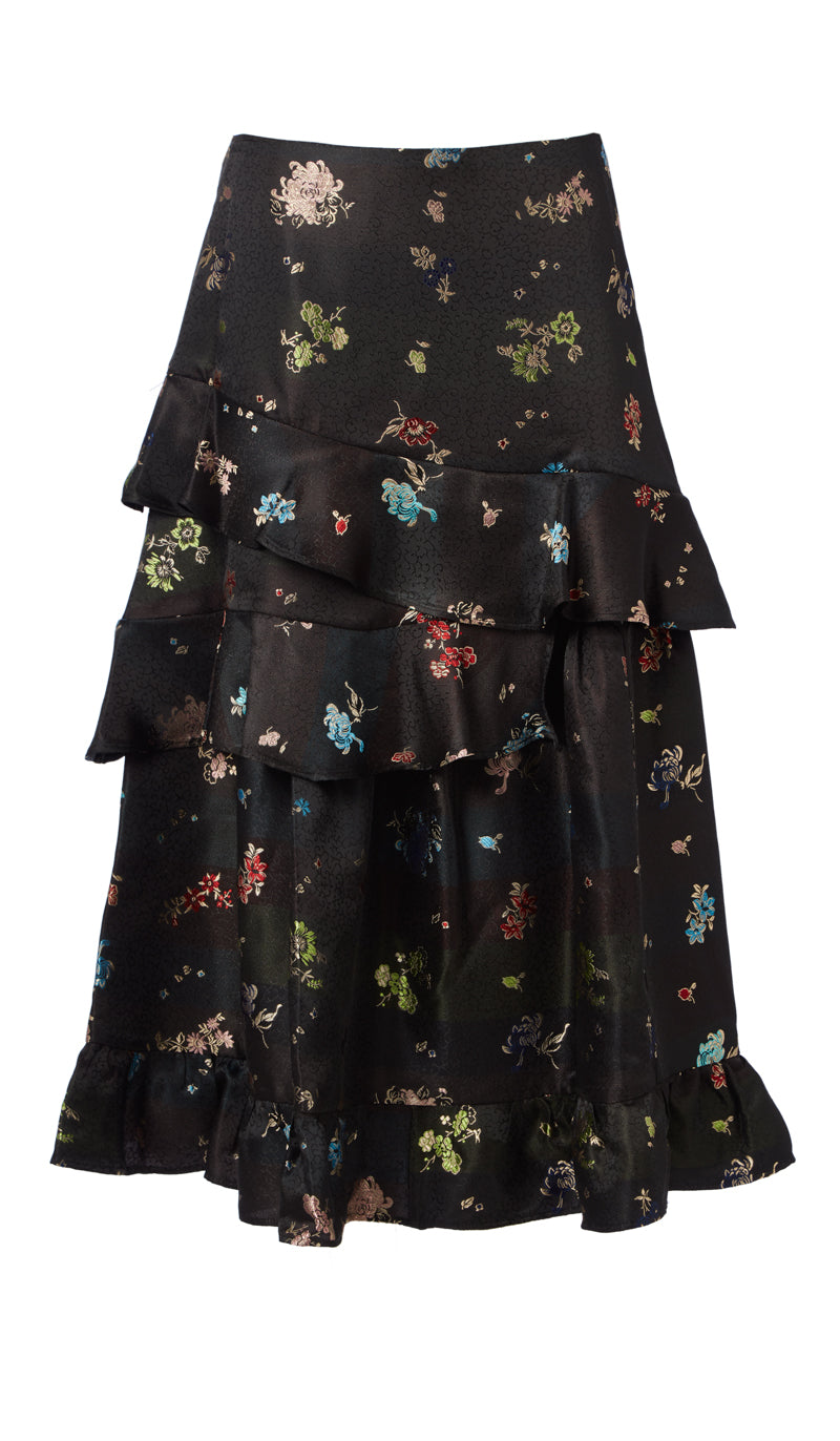 PREEN BY THORNTON BREGAZZI LUXURY DESIGNER JACQUARD MID LENGTH MINI FLORAL TIERED NAYA SKIRT WITH FRILL DETAILING