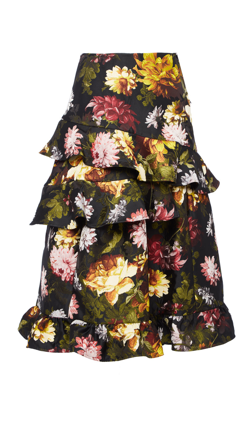PREEN BY THORNTON BREGAZZI LUXURY DESIGNER JACQUARD MID LENGTH FLORAL ESTA SKIRT WITH FRILL DETAILING