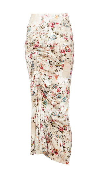 AW18 BONNIE SKIRT NUDE PLASTIC FLORAL