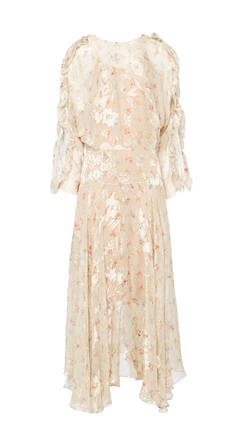 PREEN BY THORNTON BREGAZZI LUXURY DESIGNER FLO DRESS WITH FITTED WAIST AND CUT OUT SLEEVES