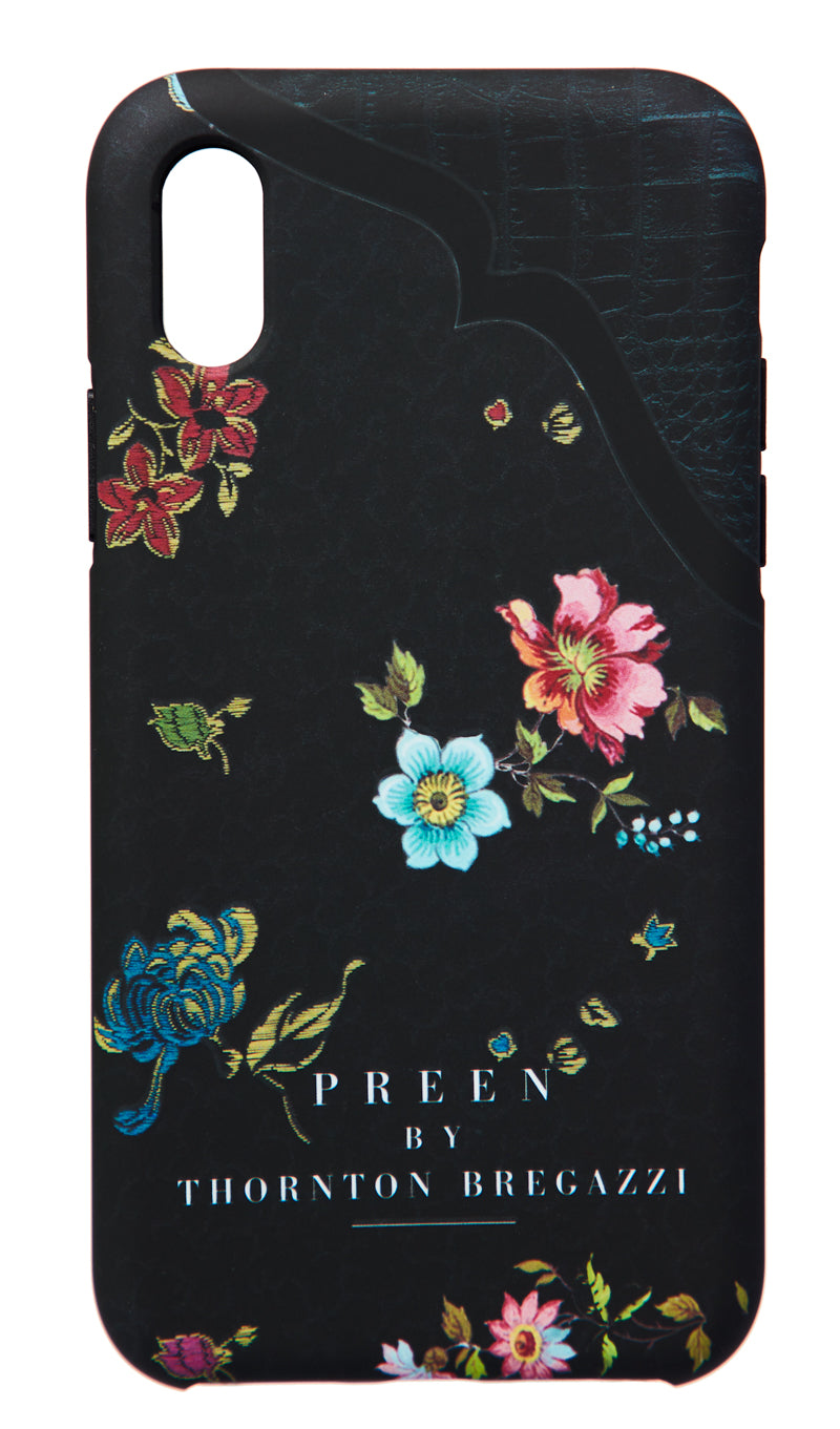 IPHONE CASE BLACK WOVEN FLOWER