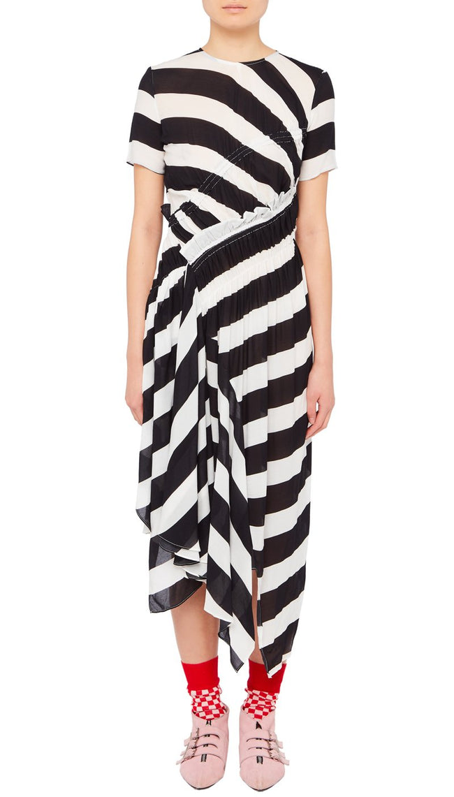 Sida Dress Black and White Stripe