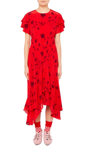 Esther Dress Painted Flower red and Stripe