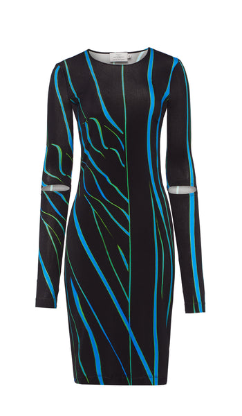 Sonia Dress Black and Blue Distorted Stripe
