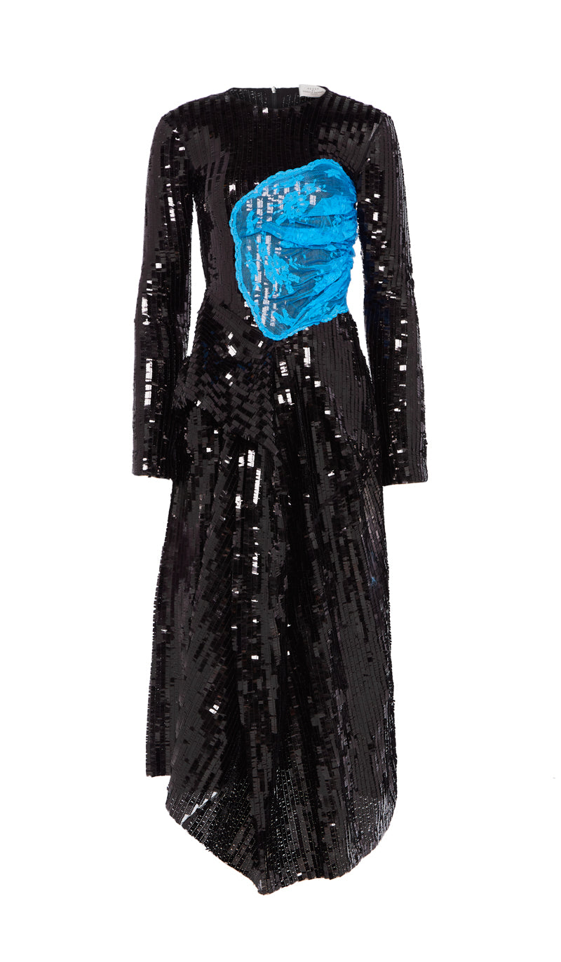 Stephanie Dress Black Sequin and Blue Lace