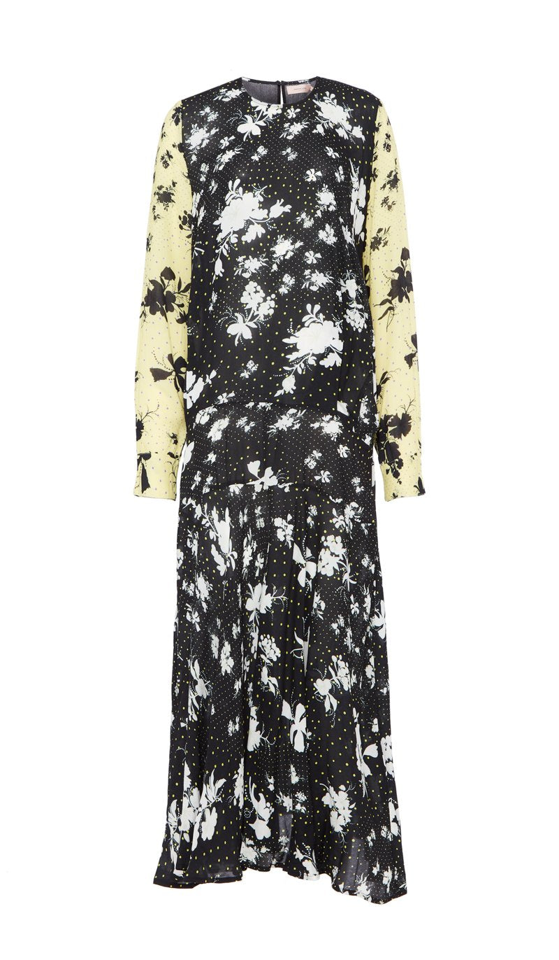 Marin Dress Polka Dot floral Black and Yellow