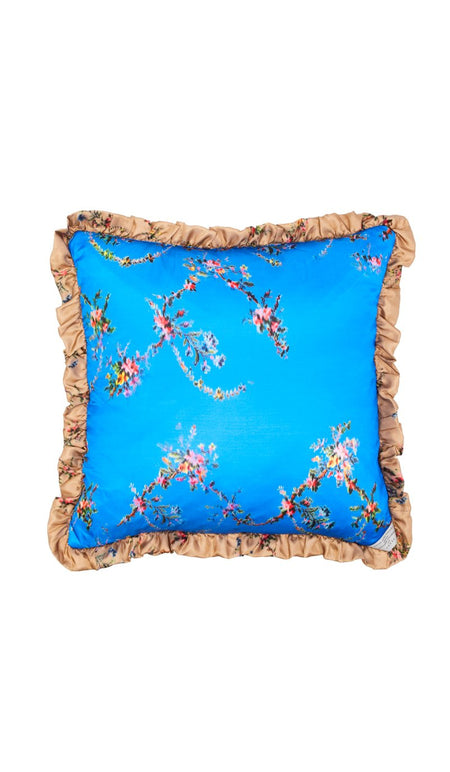 BLACK WOVEN FLORAL CUSHION