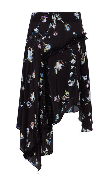 Amelija Skirt Painted Flower Black