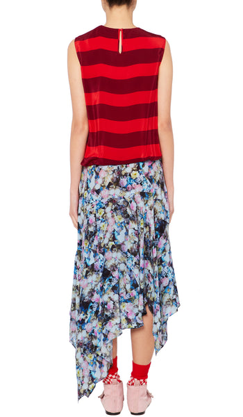 Flora Dress Abstract Flower Blue and Red Stripe