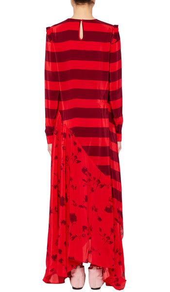 Hebe Dress Painted Flower and Red Stripe