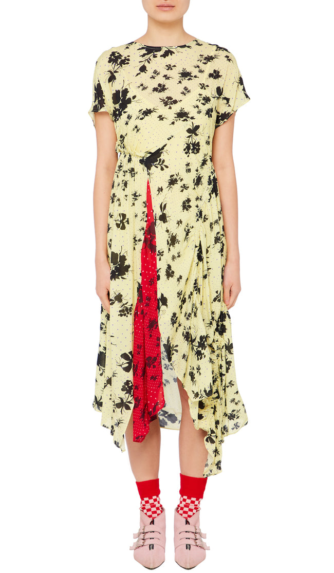 Asha Dress Polka Dot Floral Yellow and Red
