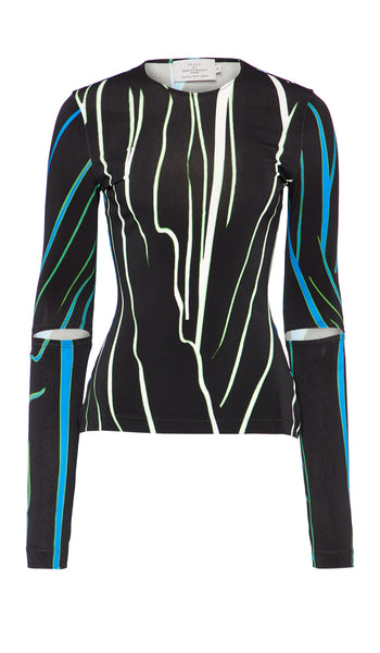 Dee Top Blue and Black Distorted Stripe