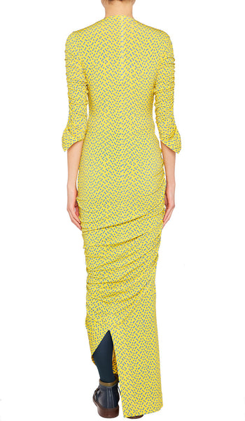 EDANA DRESS YELLOW TETRIS