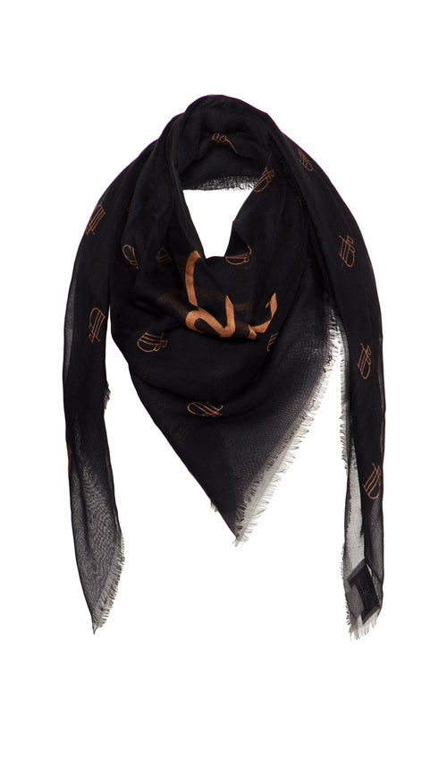 PTB Black and Gold monogram Print Preen by Thornton Bregazzi Designer Luxury Scarf