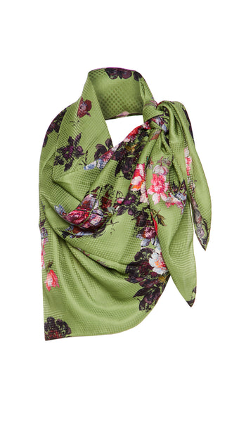 EXCLUSIVE SMALL GREEN WILD ROSE SCARF