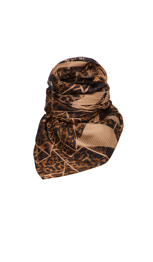 EXCLUSIVE LARGE TAN LEOPARD SCARF