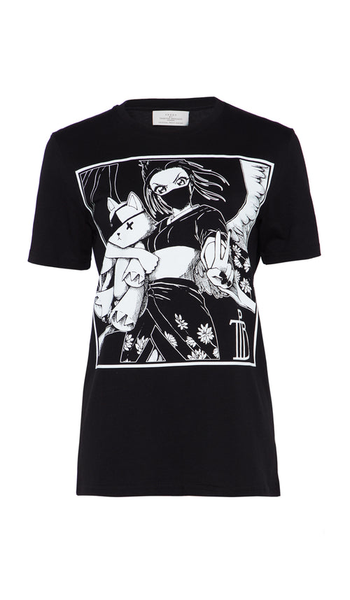 TAMIKO T-SHIRT KAWAII MANGA BLACK