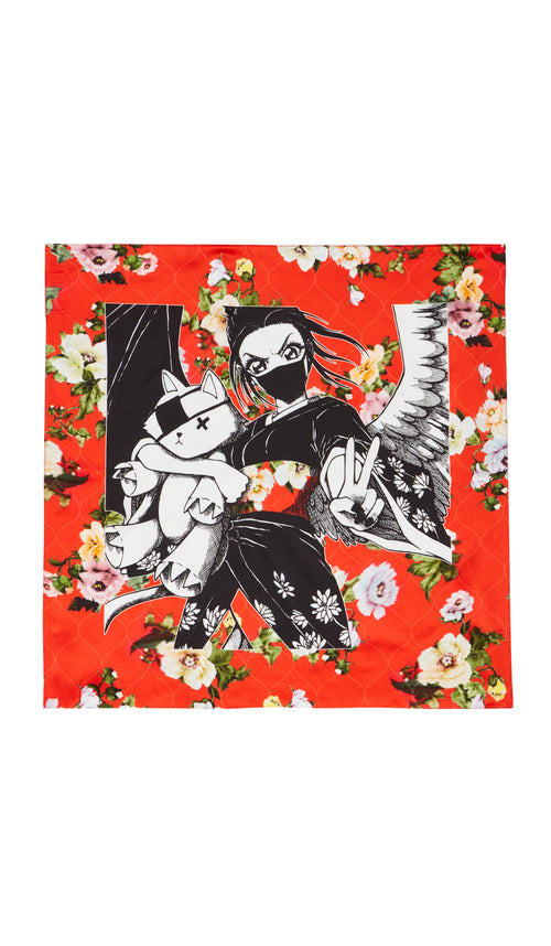 RITSUKO SCARF KAWAII MANGA RED LOTUS FLOWER
