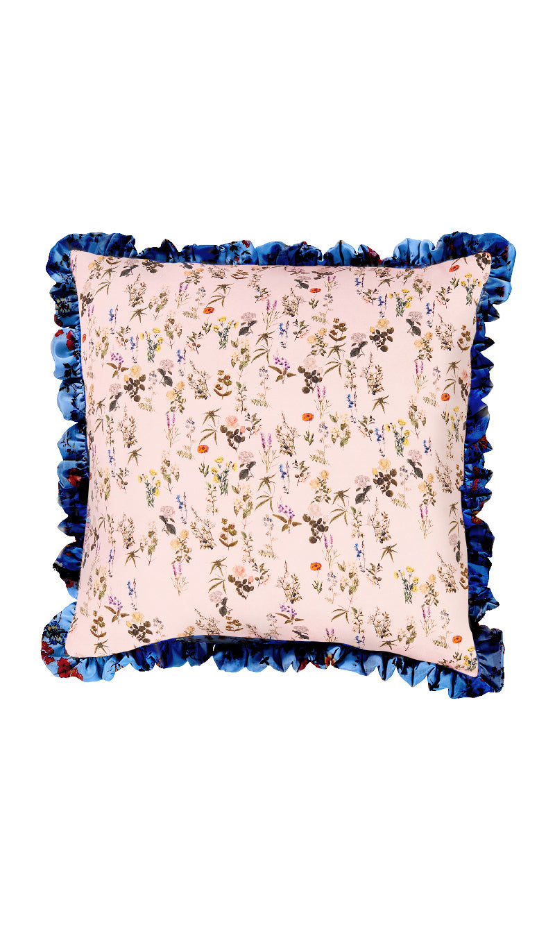 BLUE PLASTIC FLORAL & PINK HERITAGE FLORAL CUSHION