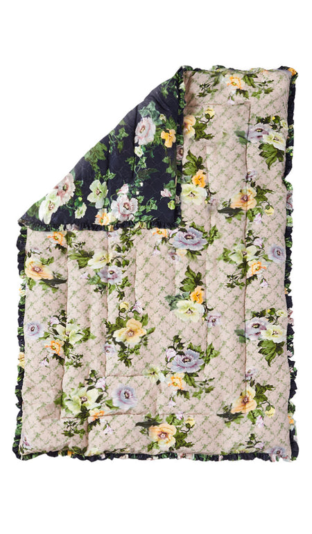LARGE BLACK WOVEN FLORAL QUILTED EIDERDOWN