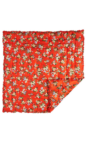 LARGE RED LOTUS FLOWER QUILTED EIDERDOWN