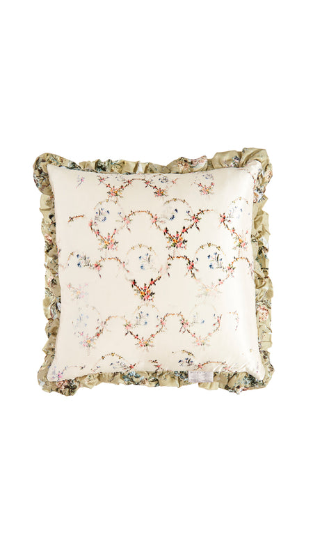 BEIGE + BLACK BROCADE CUSHION