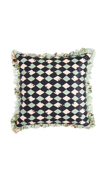 Eau de nil floral and pink harlequin cushion