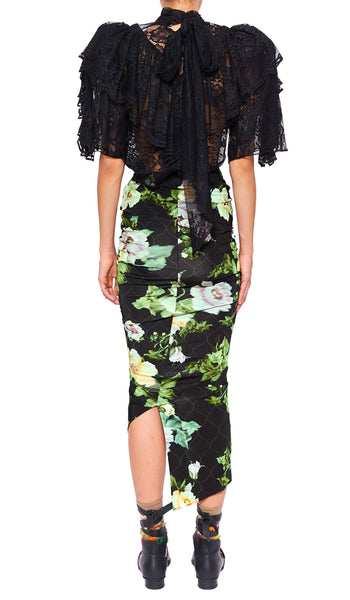 XENIE SKIRT BLACK LOTUS FLOWER
