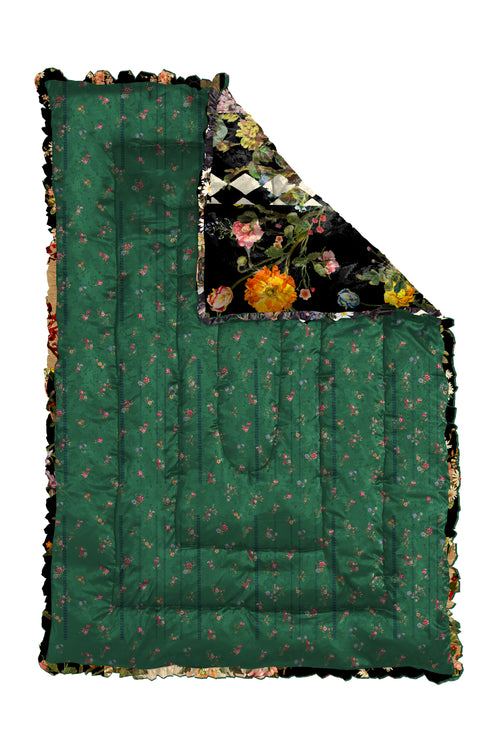 GREEN ETCHED FLORAL QUILTED EIDERDOWN