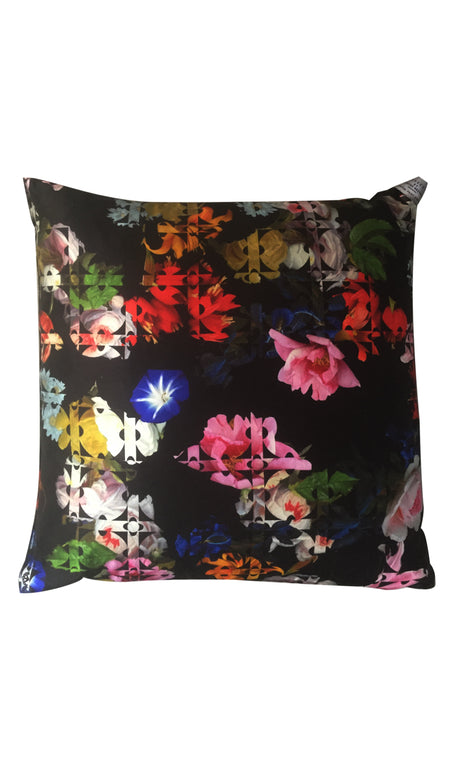 BLACK TAPESTRY & NAVY HERITAGE FLORAL CUSHION
