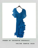 BLUE PLEATED RUFFLE DRESS