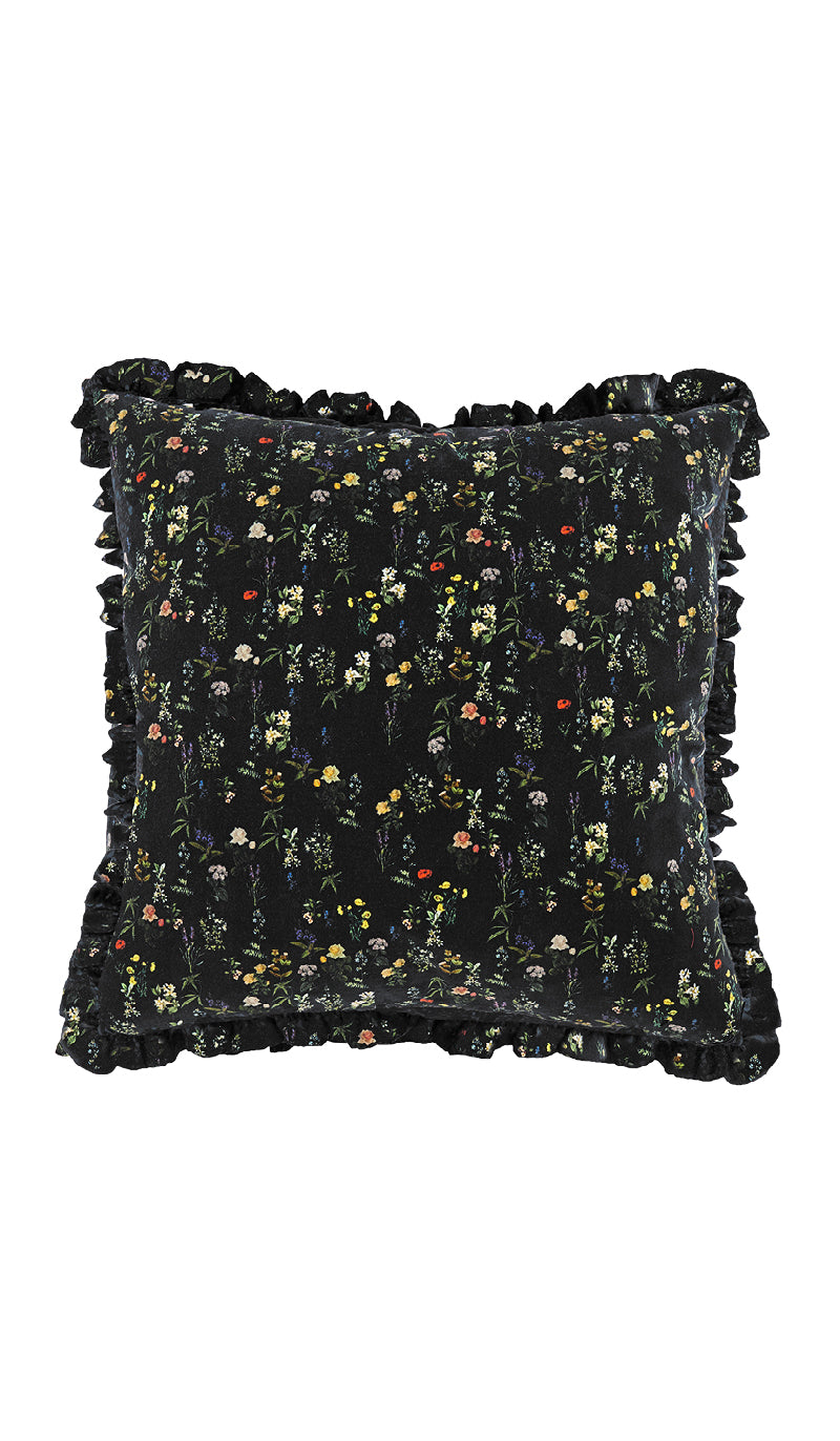 BLACK HERITAGE FLORAL & BLACK LOTUS FLOWER CUSHION
