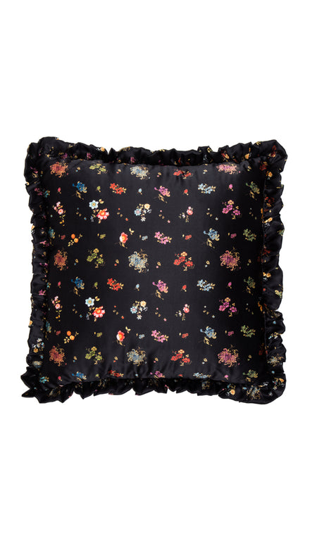 BLACK GRID FLORAL & BURGUNDY VELVET CUSHION