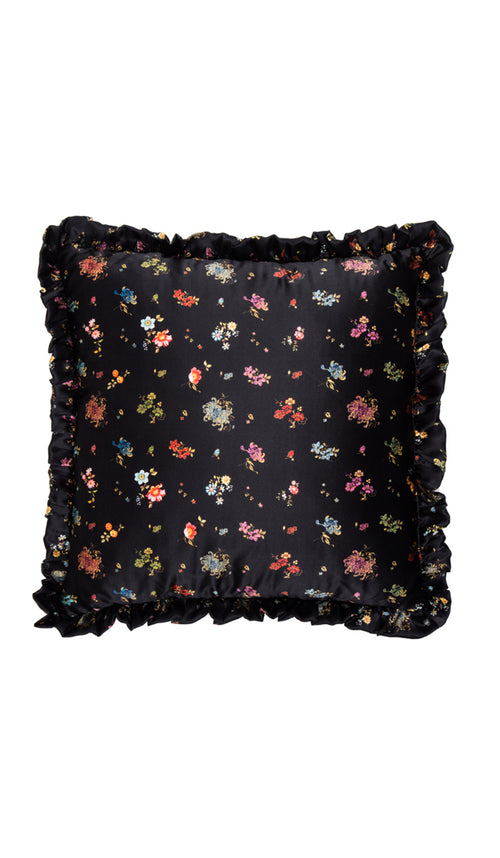 BLACK WOVEN FLORAL & SKETCH FLORAL CUSHION