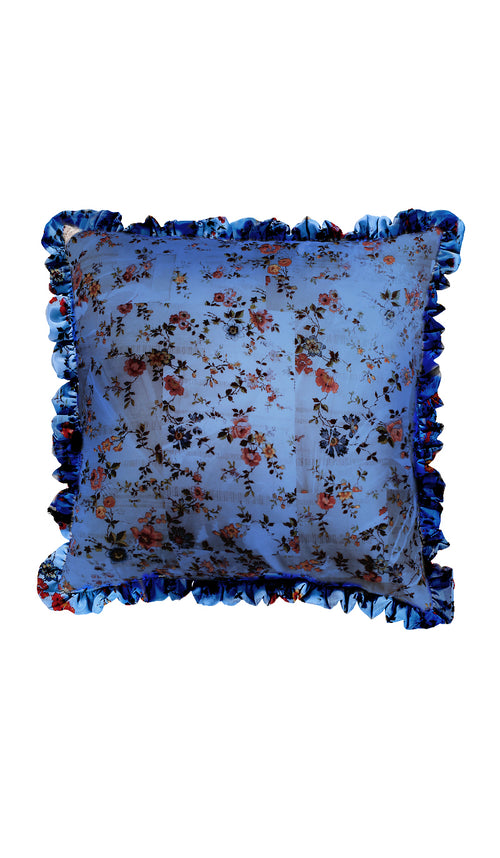 BLUE PLASTIC FLORAL & BLUE CHECKERED FLORAL CUSHION