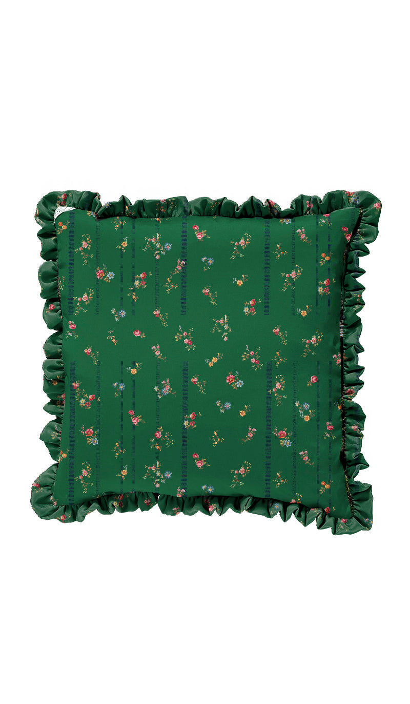 GREEN ETCHED FLORAL & BLACK TAPESTRY CUSHION