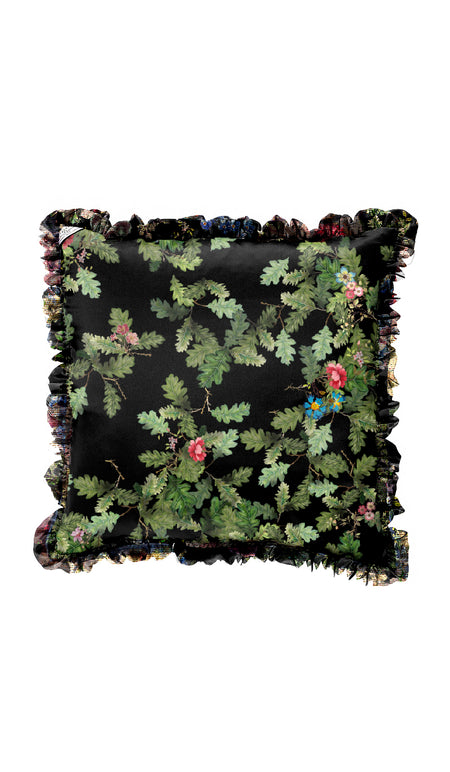 BLACK LACE FLOWER & BLACK CUSHION