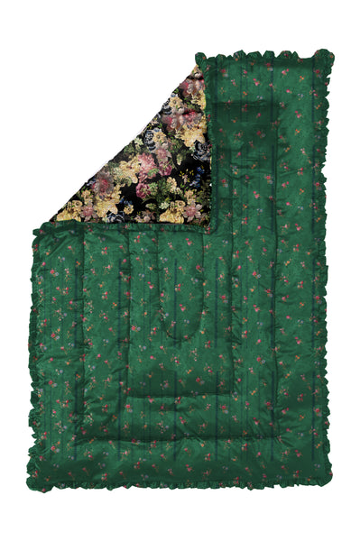 GREEN ETCHED FLORAL & BLACK TAPESTRY QUILTED EIDERDOWN