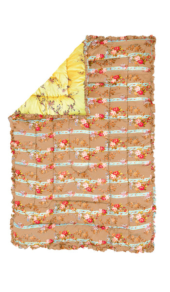 LEMON GARLAND & CAMEL BARB WIRE FLORAL QUILTED EIDERDOWN
