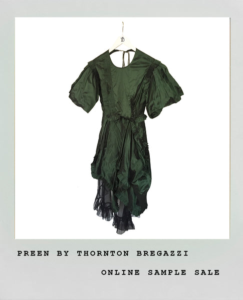 GREEN TAFFETA + ORGANZA DRESS