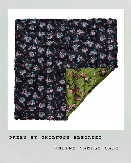 BLACK FLORAL SKULL & BLACK WAX FLOWER QUILTED EIDERDOWN