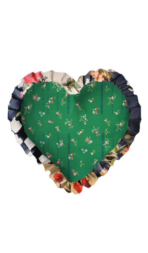 GREEN ETCHED FLORAL HEART CUSHION
