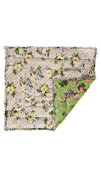 LARGE OSAKA FLORAL GREEN & GREEN WILD ROSE QUILTED EIDERDOWN