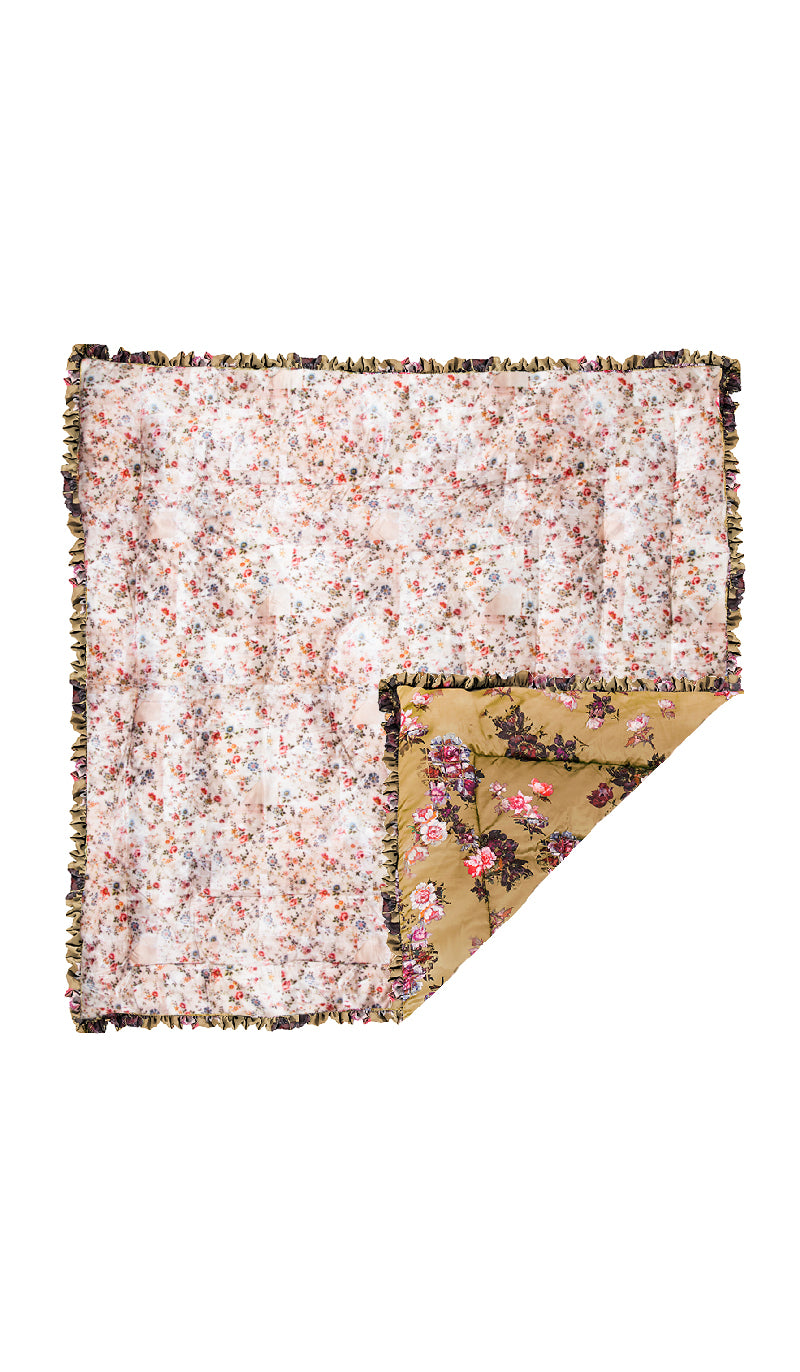 LARGE TAN WILD ROSE & NUDE PLASTIC FLORAL QUILTED EIDERDOWN