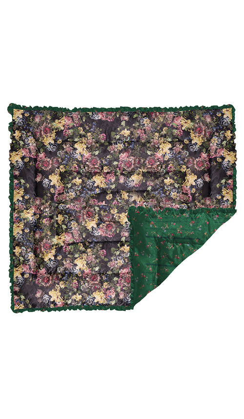 LARGE GREEN ETCHED FLORAL & BLACK TAPESTRY QUILTED EIDERDOWN