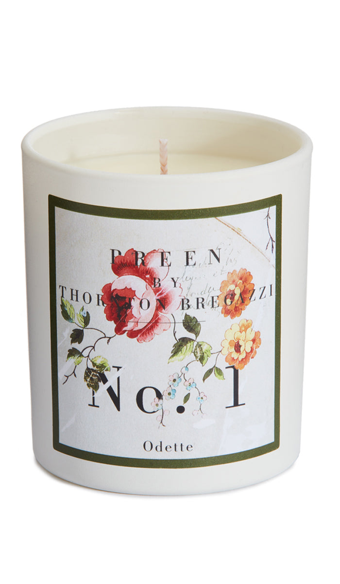 PREEN BY THORNTON BREGAZZI LUXURY DESIGNER HAND POURED ODETTE SCENTED CANDLE WITH RICH POMEGRANATE, PINK PEPPER AND CITRUS