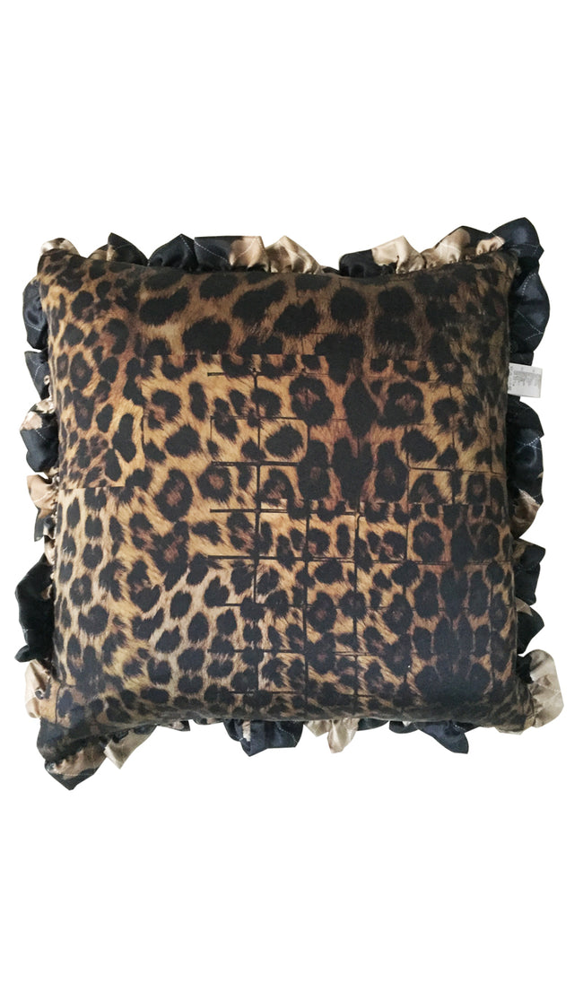 SEPIA COLLAGE & LEOPARD PRINT CUSHION